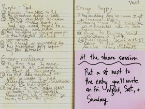 """The inside of my notebook.  I did the left page during the demonstration and the top of the right page while my kids were doing their """"Happy Emotion"""" during the Active Engagement."""