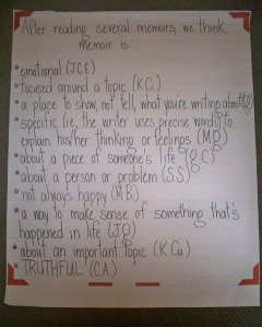 My kids' noticings about memoir from the two days we spent immersing ourselves in the genre.