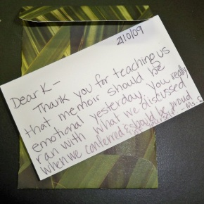A little card to my student who shared... to thank him for being courageous while sharing.
