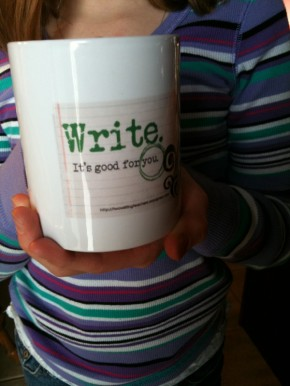 A coffee mug with TWT logo. Happy writing!