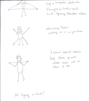 """Three New Theraband Exercises.  The small circles at the end of my """"arms"""" represents the ends of the TheraBand tube.  The dotted line, in the second picture, represents the """"x"""" I have to make with my arms."""