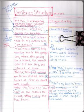 Some notes in my writer's notebook as I study sentence structure.