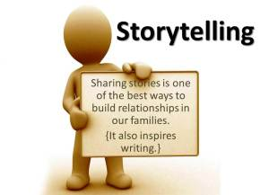 We'll start with thinking about stories we can tell. I'll encourage families to tell ONE TIME stories.