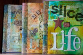 Some of prizes Amanda offered her students who sliced for the entire month. Her mom's friend  made these journals, which are works of art!