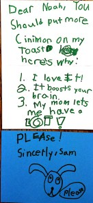 Sam's letter to the babysitter. Click on the image to enlarge.