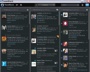 A screen capture of my first TweetDeck.  So now what?