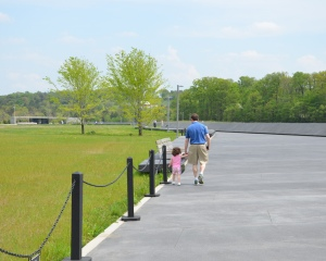 My husband and daughter walking back towards the Visitor Shelter.