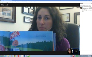 One of the neat features in Google Hangout is being able to show someone a mentor text. In this case, I showed Anna a page from Truck Stop by Anne Rockwell and Melissa Iwai that I used as a mentor for my own writing.