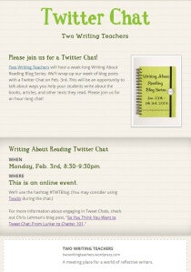 TWT Writing About Reading Twitter Chat Flyer