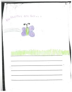 This student used opposites.  Butterflies are fast... and slow.