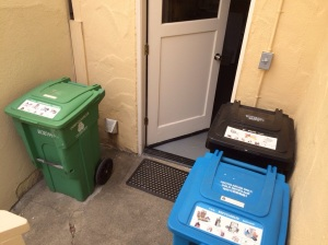 The people of San Francisco is hard core about recycling and composting. This is a picture of the recycling bin, the composting bin, and the trash bin behind the home in which we stayed.
