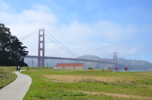 A view of the Golden Gate Bridge taken from Crissy Field.