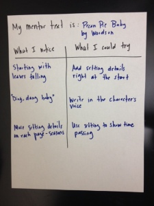 Sample Mentor Text Chart