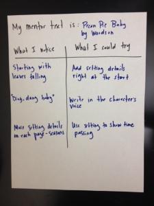 Sample Mentor Text Chart