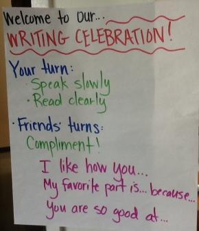 writing celebration chart