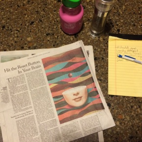 The Levitin article sat beside the shopping list and beneath my daughter's water bottle and our S&P shaker last week.