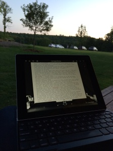 I watched the sun fall below the treetops on Sunday evening as I did some writing on my iPad using the Hanx Writer app. (It simulates a typewriter, with all of the clackety-clacking and dings!)