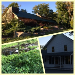 Clockwise from top: The Barn at the Highlights Foundation, the Boyds Mills Press Office, and a beautiful creek I found on my walk an hour before sunset.
