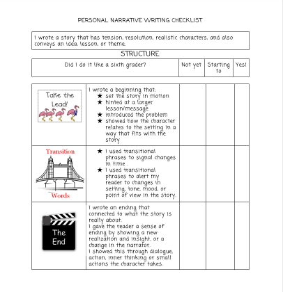 Personal Narrative Writing Rubric Middle School Writing