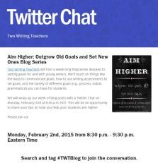 Aim Higher Twitter Chat -- Two Writing Teachers