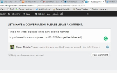 Having a WordPress account makes it faster for you to leave comments. However, you don't have to have one. Just fill in your username (for the challenge), your e-mail address, and your blog's URL in the appropriate fields, THEN leave your comment in the comment box.