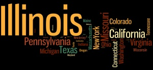 As of last night, we had the greatest concentration of participants from Illinois. The smaller the name of your state/province/country, the less Slicers there are from your part of the world.  (Created with Wordle. Click on the image to enlarge.)