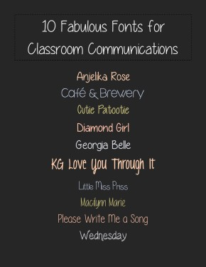 Two Writing Teachers - Fabulous Fonts for Classroom Communciations