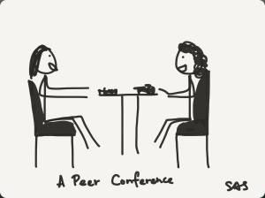 Move from writing partnerships to peer conferring in your writing workshop.