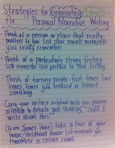 generating ideas for personal narrative