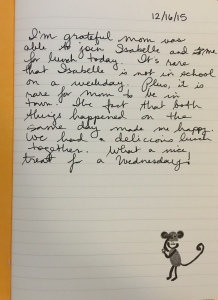 My very first gratitude journal entry.