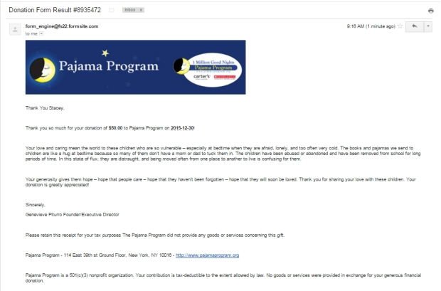 Pajama Program Donation from TWT