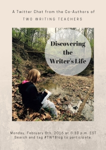 Please join us on Monday, February 8th for the Discovering the Writing Life Twitter chat. Use the hashtag #TWTBlog to join. The chat begins at 8:30 EST. We look forward to chatting with you on Monday.