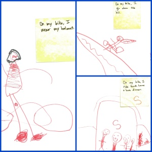 One of the boys in the class recently got a new bike. He felt confident he could write about what he does when he goes out on his bike. Click on the image to enlarge.