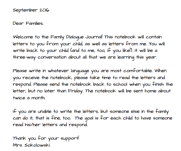 Family Dialogue Journals TWO WRITING TEACHERS