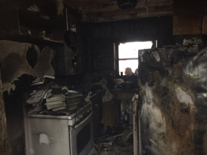 The kitchen is one of many places in the Hubbard House that was destroyed by yesterday's fire.