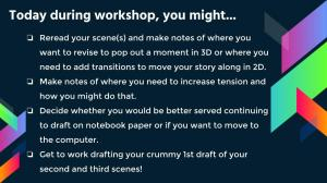 After teaching a minilesson on 2D vs. 3D moments during our realistic fiction unit of study, I put up this list that touches on previously taught strategies to help my writers decide how they might like to use their workshop time.