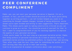 peer conference compliment
