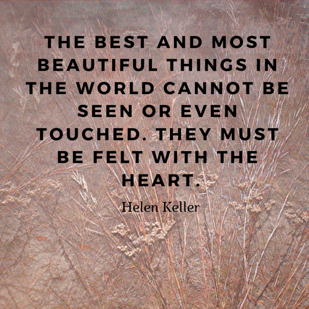 The best and most beautiful things in the world cannot be seen or even touched. They must be felt with the heart